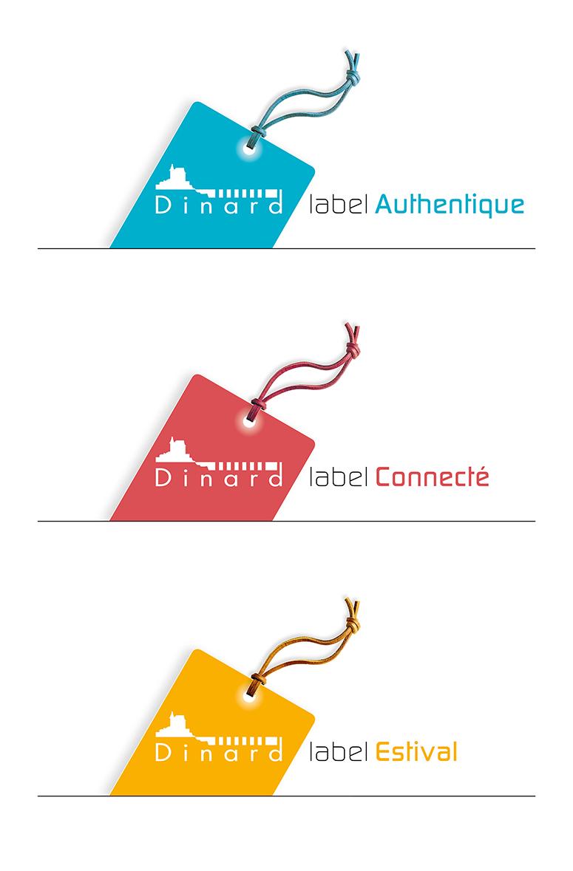 """Création signature label déclinable """"Label"""" de la ville de Dinard, identité graphique ville de Dinard, création logotype, création affiche, déclinaison sur affiche, Quadrat Design Graphique Dinard"""