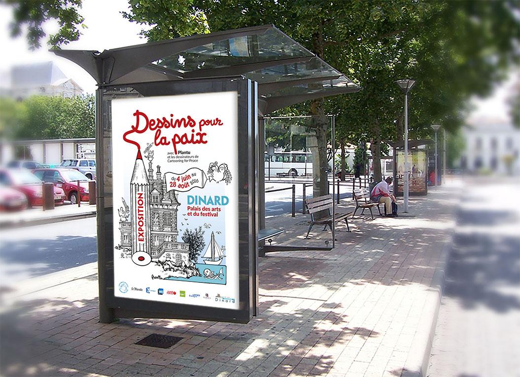 Sucette Dessins pour la paix, exposition ville de Dinard